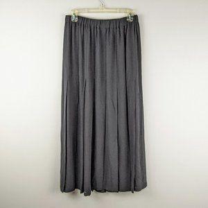 Aspesi Black Silk Pleated Sheer Maxi Skirt Size L